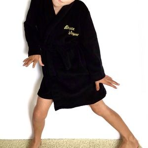Batman Boys Sz S Black Bruce Wayne Fleece Tie Robe